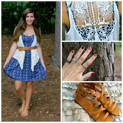 Blue and white school colors outfit