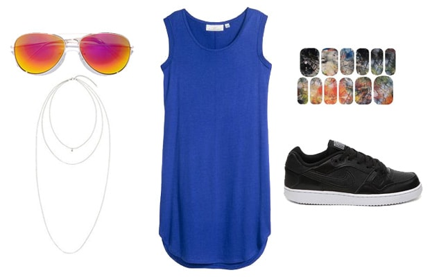 Blue dress and orange sunglasses sneaker outfit