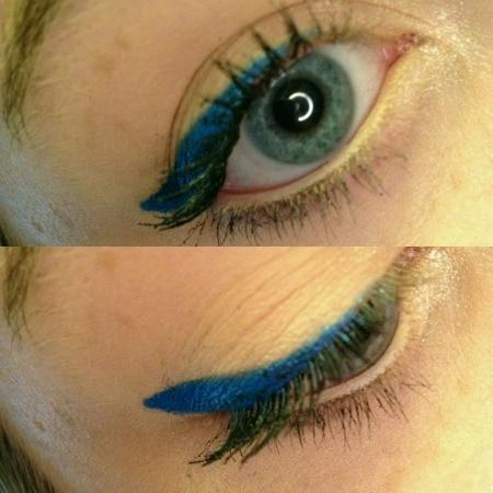 Blue eyeliner tutorial close up
