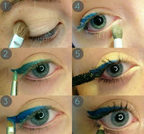Blue eyeliner tutorial step by step