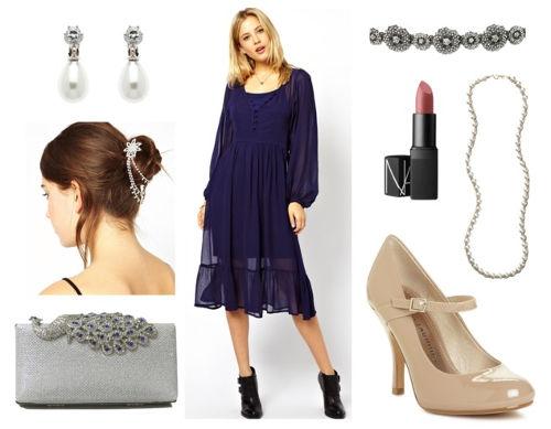 Blue midi dress jewelry heels