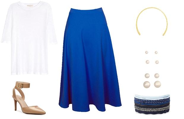 Blue midi skirt Parisian outfit