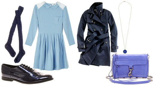 Monochrome blue outfit: Dress, trench, shoes, bag