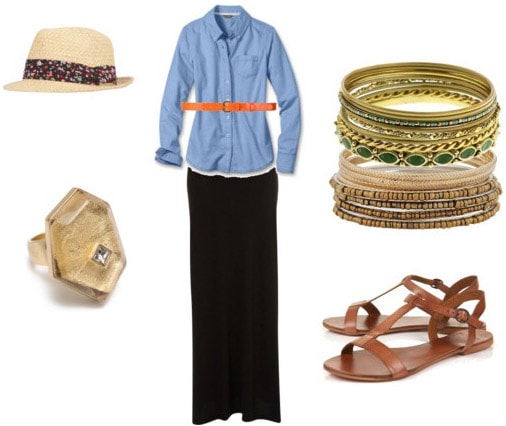 Oxford shirt outfit: Blue oxford shirt, black maxi skirt, sandals, gold jewelry, orange belt and fedora