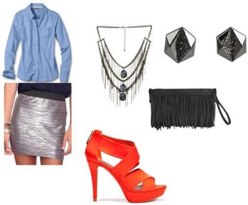 Oxford shirt outfit: Blue oxford shirt, silver metallic skirt, neon orange heels, statement jewelry and clutch