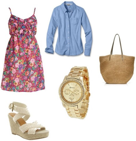 Oxford shirt outfit: Blue oxford shirt, pink dress, gold watch, straw tote, and espadrilles