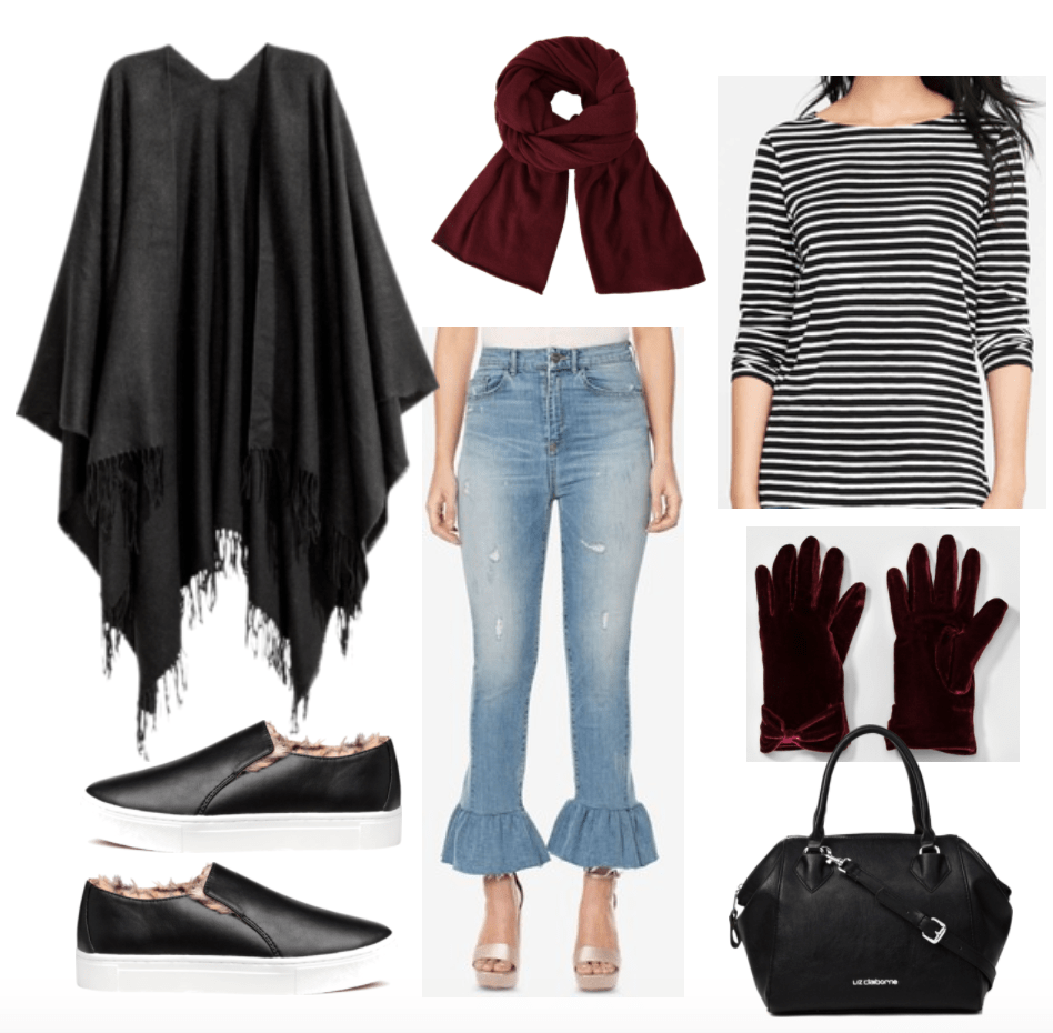 Outfit including denim ruffled jeans and a black fringed cape.