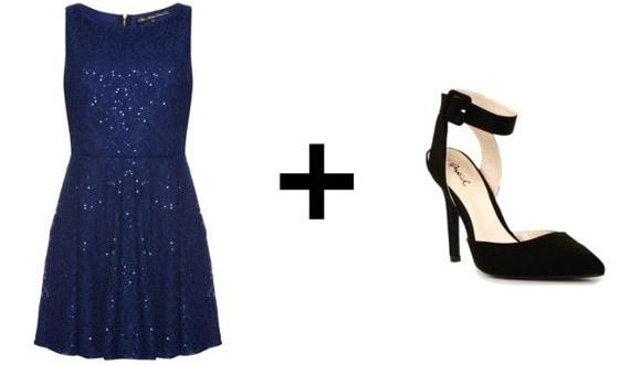 Blue sequin dress and black ankle strap heels