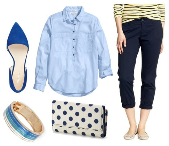 blue button up. navy chinos, pointy-toe flats