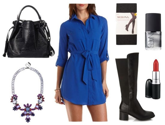Blue shirtdress black boots printed tights