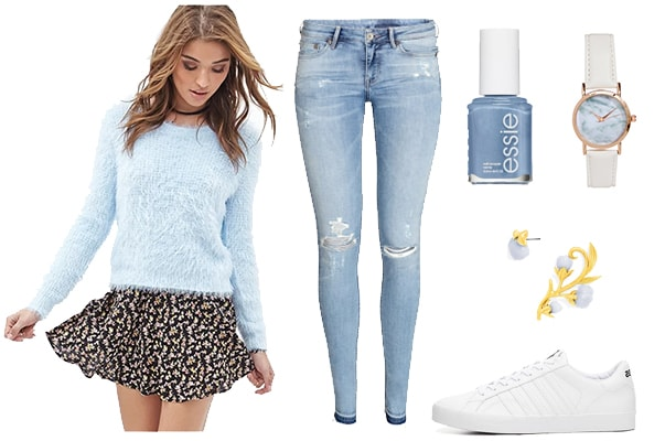 Light blue sweater floral outfit