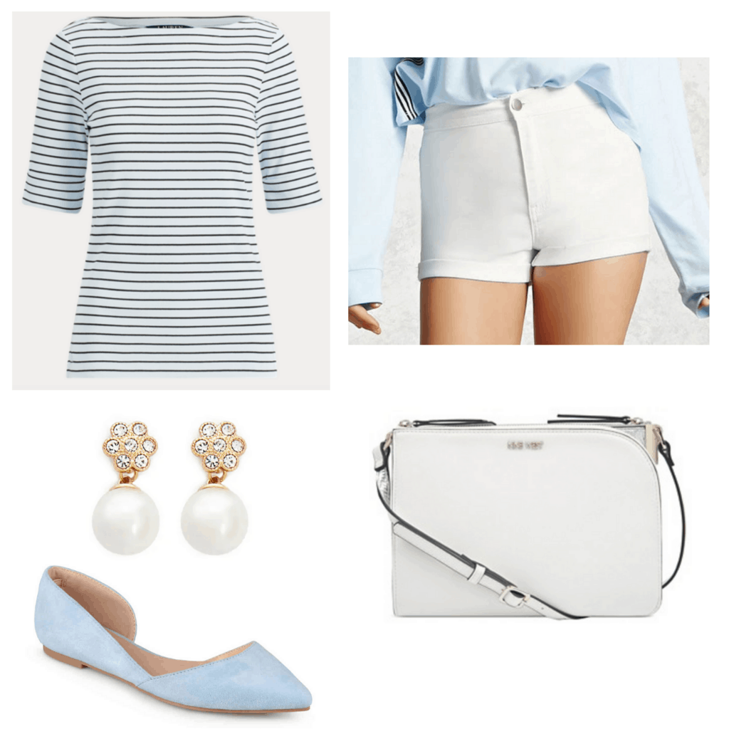 Blue striped boatneck top with white shorts, pearl earrings, white bag, and blue flats.