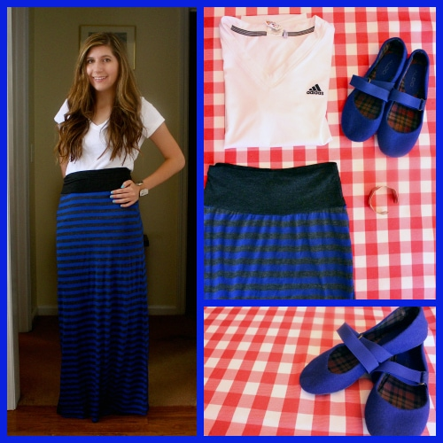 Blue striped maxi skirt white v neck blue ballet flats 4th july outfit