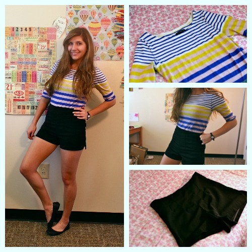 Blue striped top high waisted black shorts black ballet flats