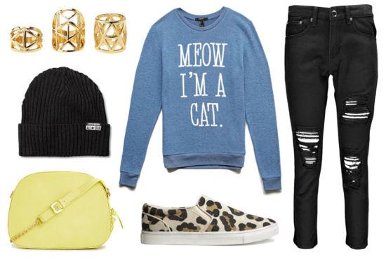 Blue sweatshirt black boyfriend jeans leopard sneakers