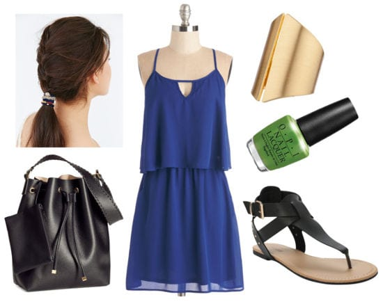 Blue tank dress black sandals black bag