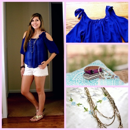 Blue top with shoulder cutouts white shorts layered jewelry gold sandals
