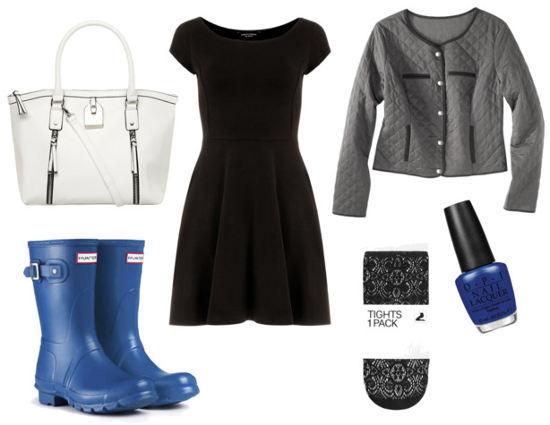 Blue umbrella blue rain boots