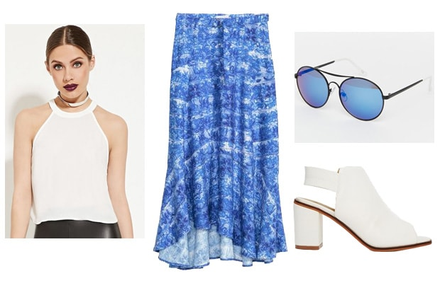 Blue water pattern maxi skirt outfit