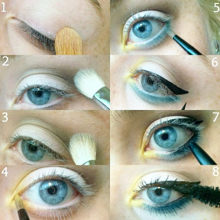 Blue and yellow eyeshadow tutorial