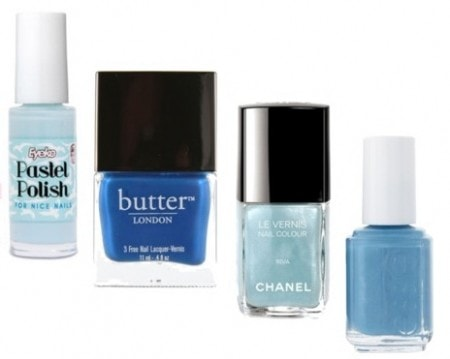 Blue nail polish - Eyeko Pastel Polish, Butter London Blagger, Chanel Riva, and Essie Coat Azure