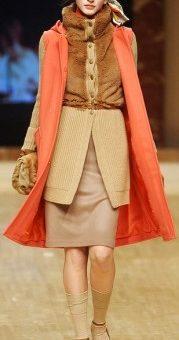 Blugirl fur sweater with coral vest