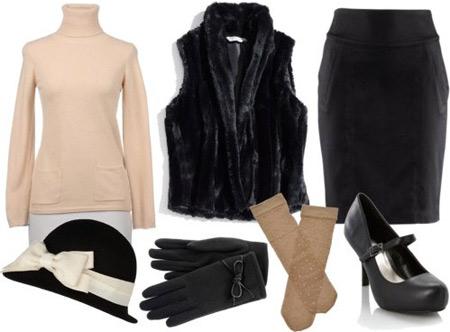 Blugirl outfit 2: Beige turtleneck, fur vest, black pencil skirt