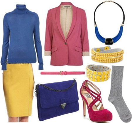 Blugirl outfit 3: Yellow pencil skirt, blue top, pink blazer, multi-colored accessories