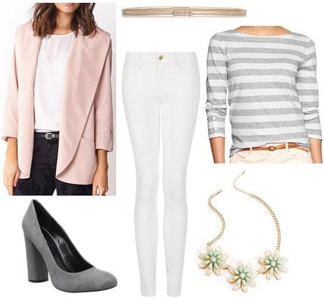 Blush blazer, gray striped tee, gray pumps, white jeans
