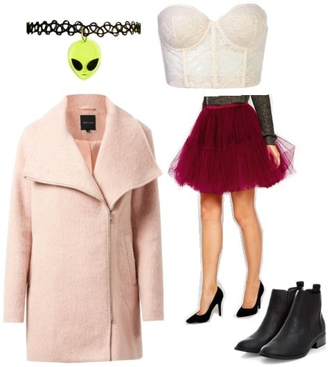 Blush coat and tulle skirt outfit