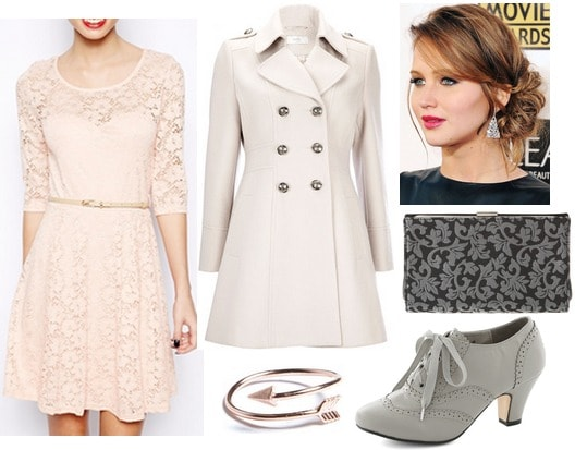 Blush lace dress, gray lace up oxfords, peacoat, clutch