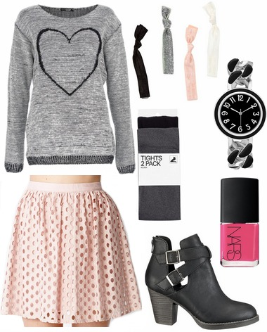 Blush skirt gray graphic sweater ankle booties tights