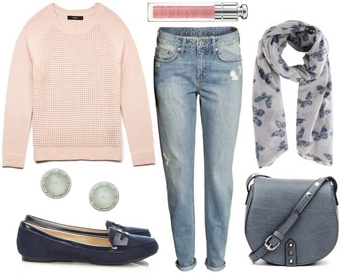 Blush sweater, boyfriend jeans, loafers, gray scarf and bag