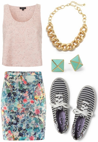 Blush top, floral skirt, striped sneakers
