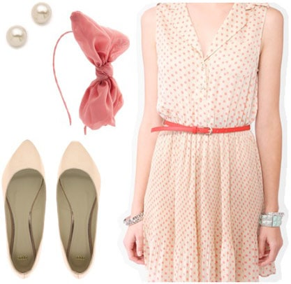 Outfit inspired by Bo Peep from Disney's Toy Story - polka dot dress, bow headband, pearl studs, cute flats