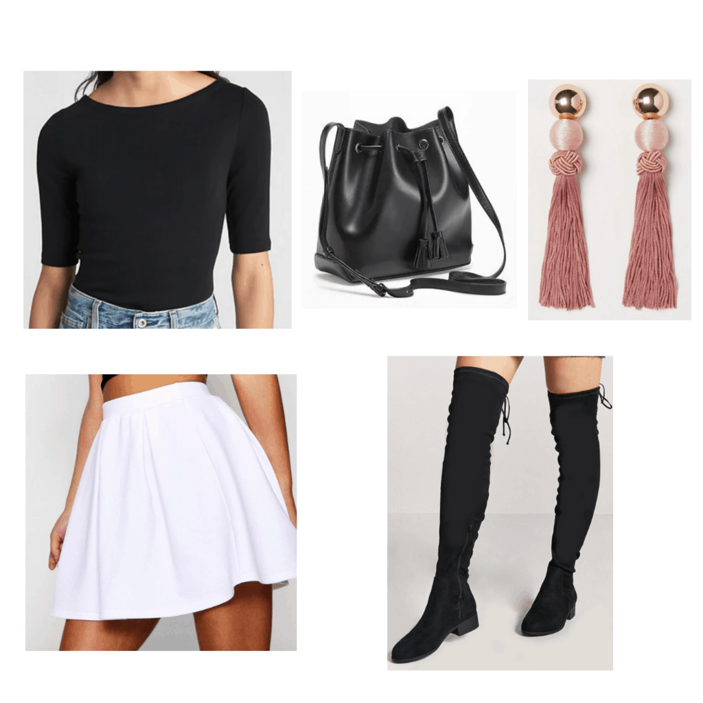 Black boatneck top with black bucket bag, black knee-high boots, white skater skirt, and pink earrings