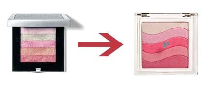 Bobbi Brown Shimmer Brick and Physicians Formula Shimmer Strips