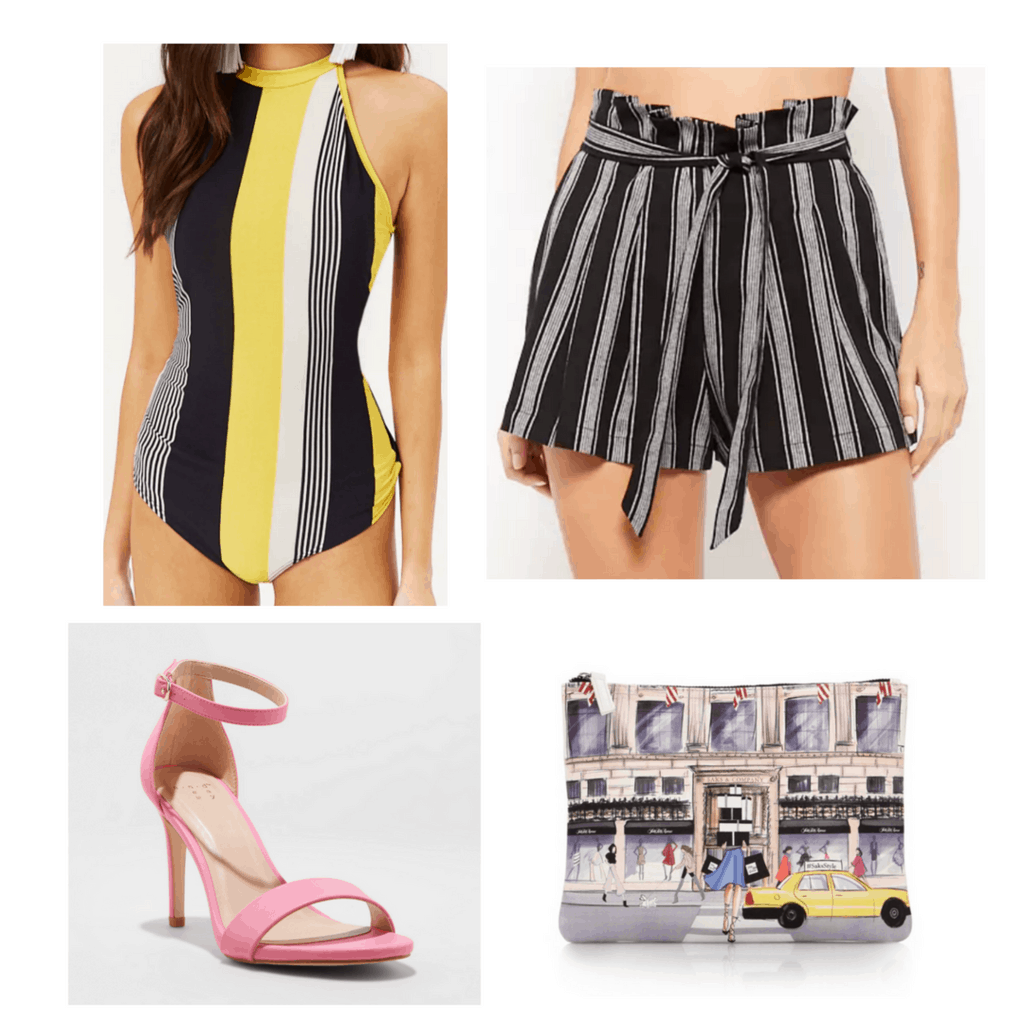 Striped bodysuit with high-waisted striped shorts, heels and clutch