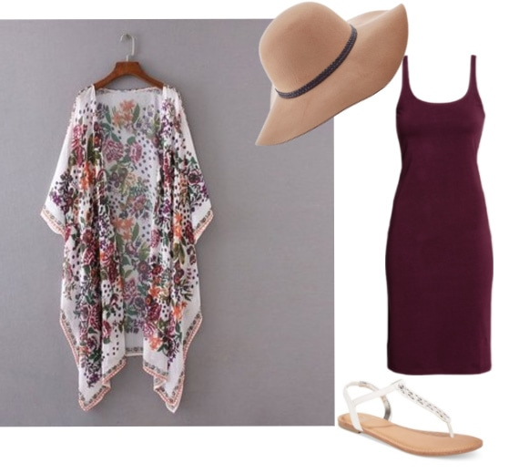 How to wear a floral kimono with a bodycon dress, floppy hat, and beach sandals