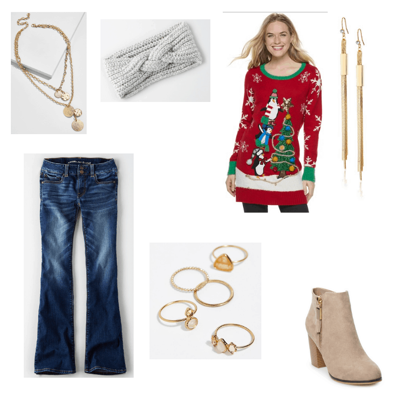 Outfit with penguin Christmas sweater, flared jeans, taupe ankle boots, layered necklace, ring set, knit headband, and gold drop earrings