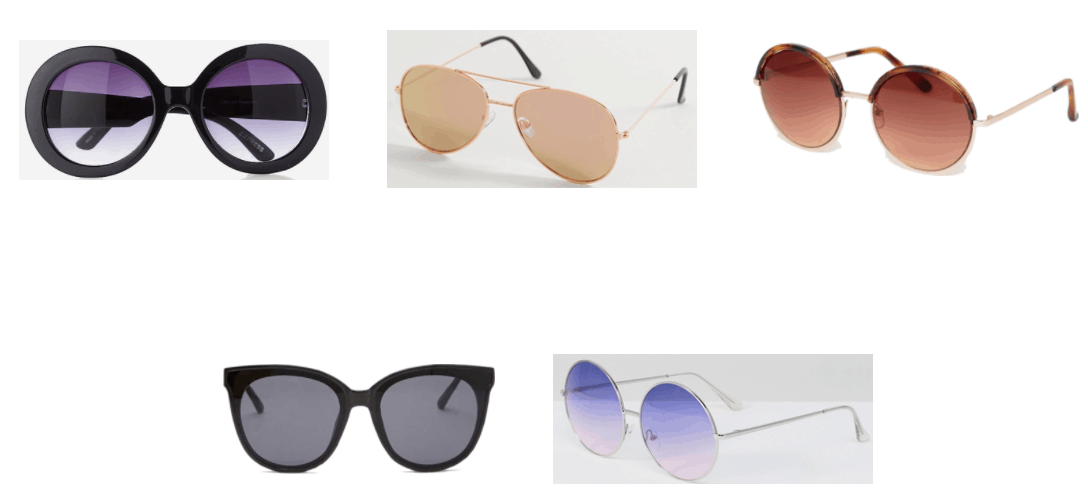 Black round oversized sunglasses with purple ombré lenses, rose gold oversized aviator sunglasses with rose gold lenses, round oversized sunglasses with rose gold arms and frames and brown tortoise at tops of frames with brown ombré lenses, silver round oversized sunglasses with purple and pink ombré lenses, black oversized cat-eye sunglasses with black lenses