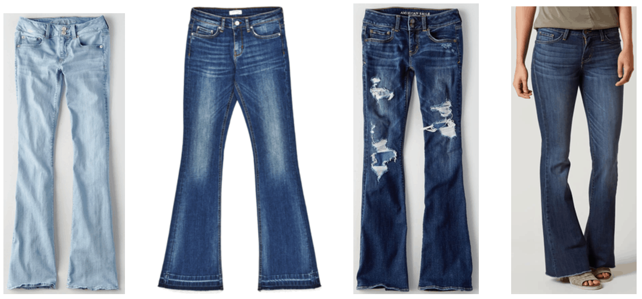Light-wash flared jeans, medium-wash skinny-flared jeans with drop hem, dark-wash flared jeans with rips and denim patches underneath, dark-wash flared jeans with fringed hem