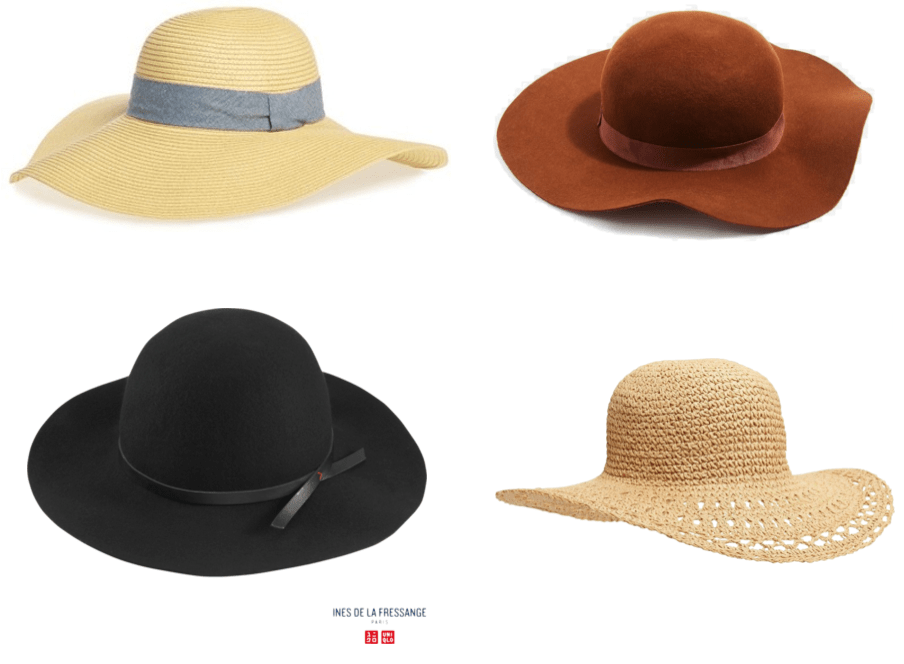 Boho chic must haves: Floppy-brimmed straw hat with knotted pale blue chambray band, cognac-brown felt floppy-brimmed hat with tonal band, black wool floppy-brimmed hat with thin faux leather band with red stitch, open-weave floppy-brimmed straw hat