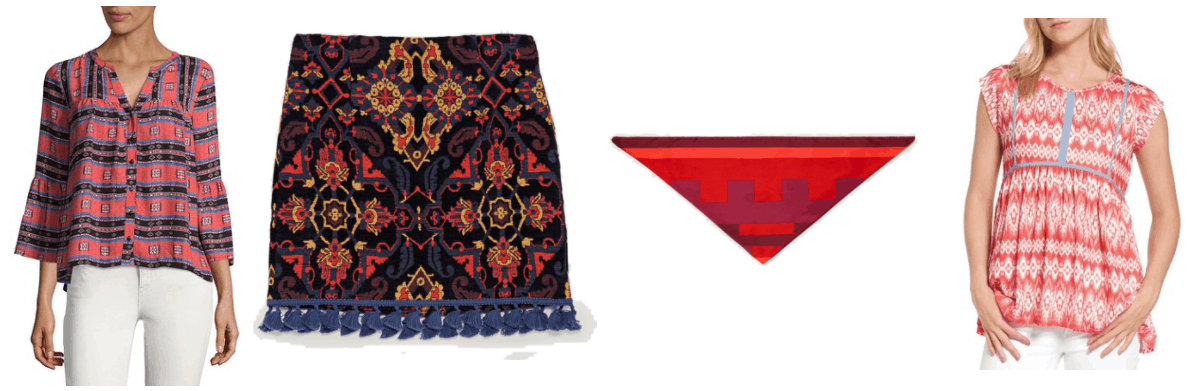 Light red three-quarter, bell-sleeve blouse with geometric print; black jacquard skirt with red, blue, and yellow geometric print and blue tassels, geometric printed square scarf in shades of red, light-red-and-white short-sleeved top with pale blue trim
