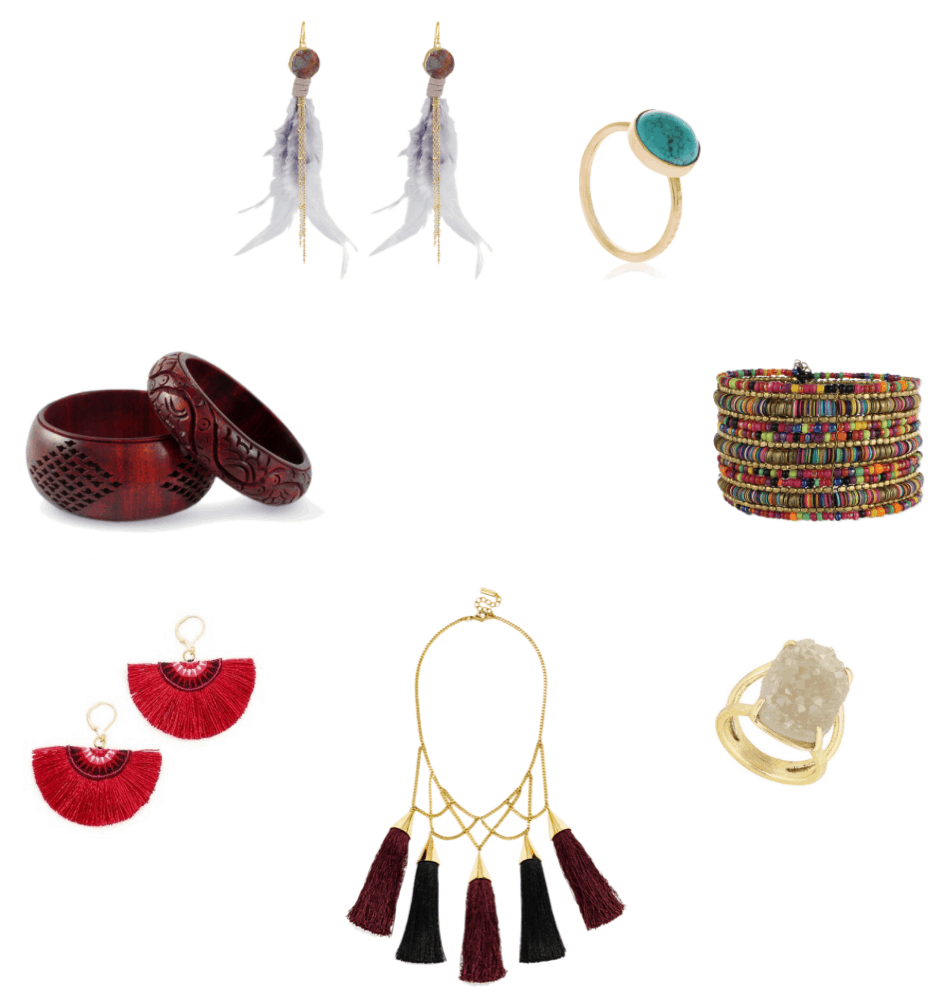 Gold earrings with sunstone druzy stones, gold chains, and lavender feathers; gold ring with round turquoise stone, multi-colored beaded and sequined cuff bracelet, rose gold double ring with beige druzy stone, gold bib necklace with black and maroon tassels, gold earings with red embroidered fan-shaped fringe, set of one thick and one thin mango wood engraved bangle bracelets