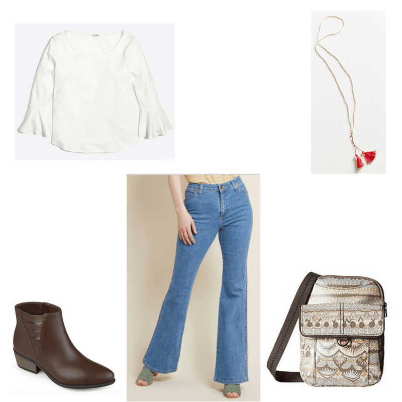 Outfit with white bell-sleeve tee, flared jeans, brown booties, red tassel necklace, and printed messenger bag