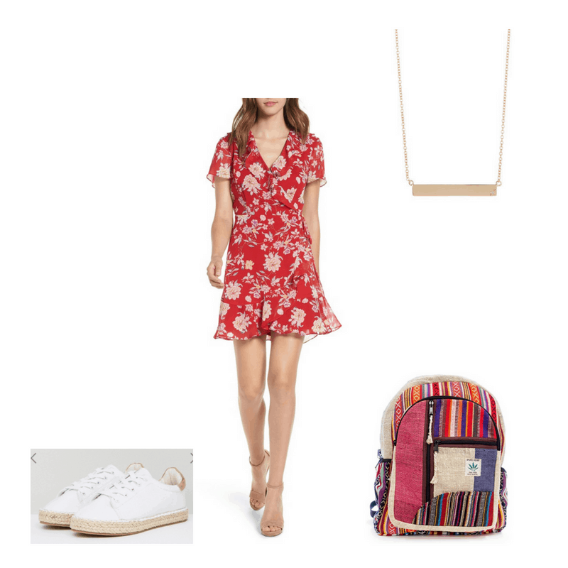 Bohemian outfit with red floral wrap dress, bar necklace, espadrilles, and printed hemp backpack