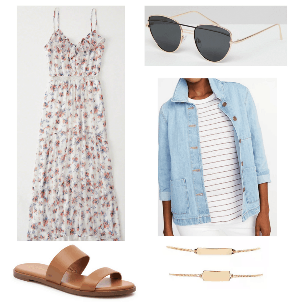 floral maxi dress, slip on shoes, cat-eye sunglasses, denim jacket, gold bracelets