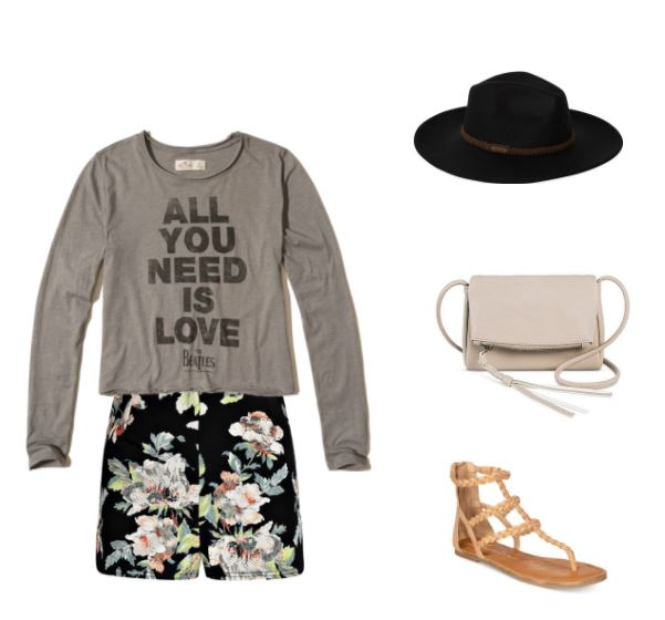 Boho outfit to wear to an indie concert in summer: All You Need is Love long-sleeve tee, floral print shorts in black, woven gladiator sandals in tan, black wide brim hat, beige cross-body bag