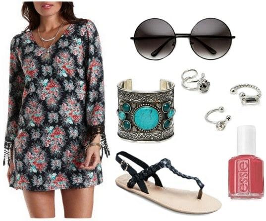 Boho printed dress, sandals, round sunglasses
